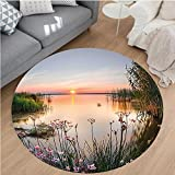 Nalahome Modern Flannel Microfiber Non-Slip Machine Washable Round Area Rug-t at Chudskoy Lake Estonia View Spring Flowers Landscape Photo Green Light Pink Baby Blue area rugs Home Decor-Round 47''
