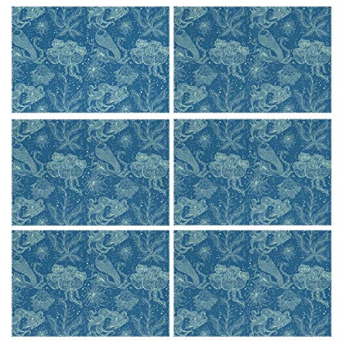 Deep Sea Fantasy Mermaid Princess Placemats for Dinning Table Set of 6 Insulation Table Mats Anti-Slip Heat Resistant Stain Resistant -