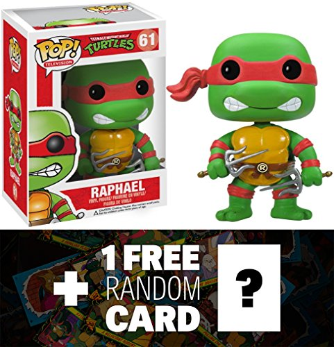 "Raphael: ~3.7"" Funko POP! x TMNT Vinyl Figure + 1 FREE Official classic TMNT Trading Card Bundle"