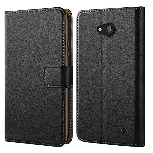 HOOMIL Case Compatible with Microsoft Lumia 640, Premium Leather Flip Wallet Phone Case for Microsoft Lumia 640 Cover (Black) (Phone Lumina Cases Cell Nokia)