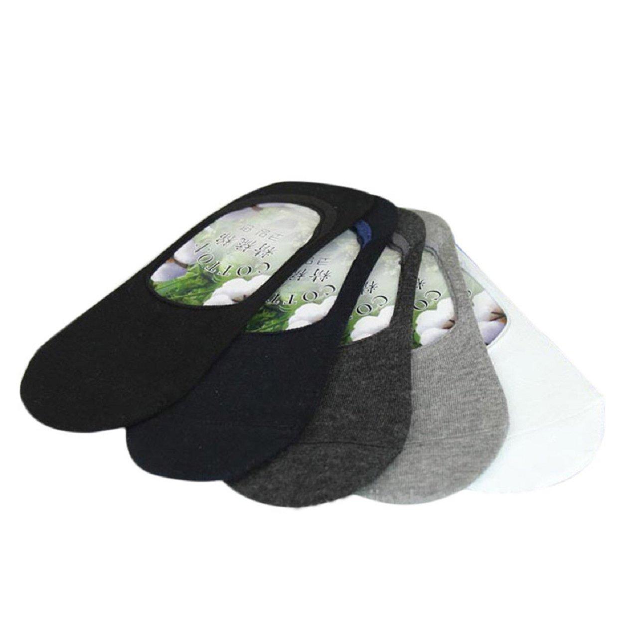 Malloom® 5 pares Hombres Enfriar Fibra de bambu Barco invisible No Show antideslizante calcetín del tobillo product image