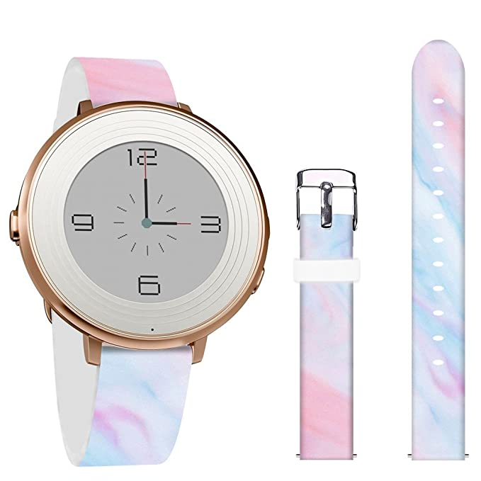 Pebble Time Round 14mm Bands,Jolook Leather Replacement Band with Quick Release for Pebble Time Round 14mm Watch -Beautiful Marble Pattern