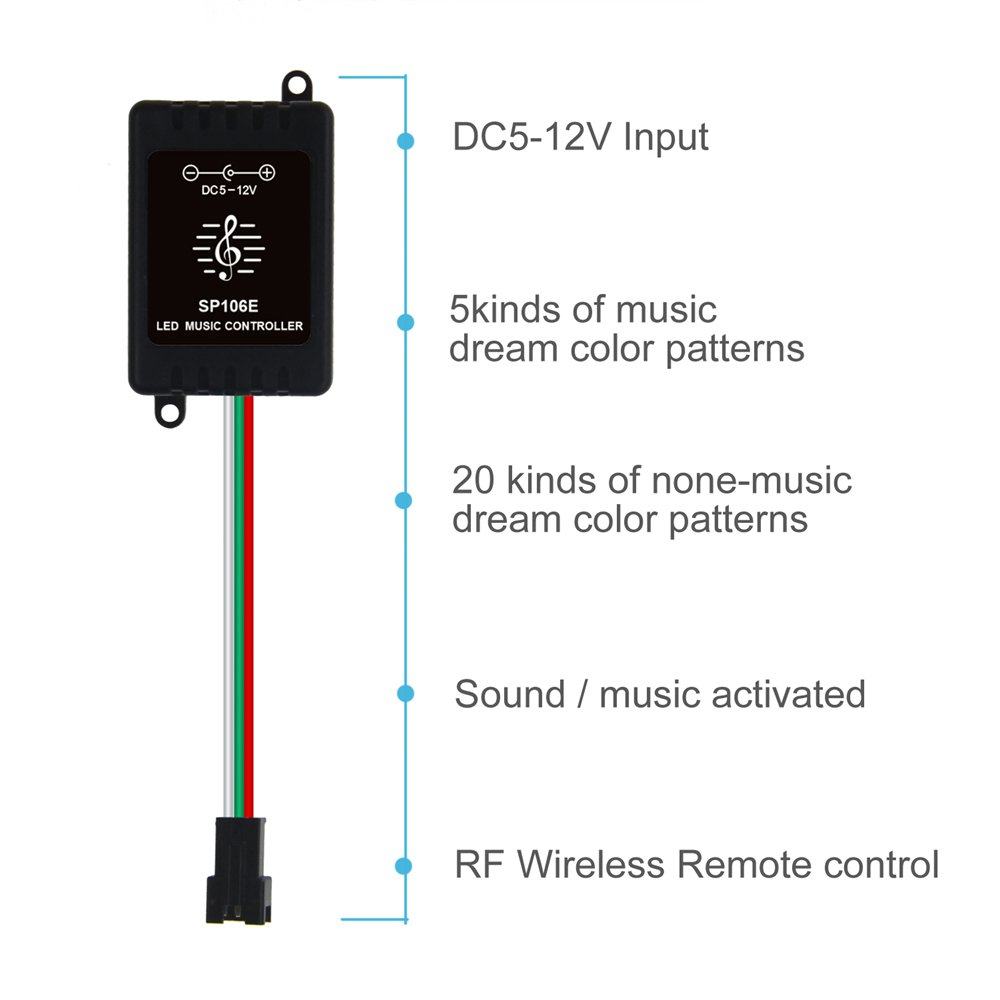 Amazon.com: ALITOVE WS2812B LED Music Controller, Sound Activated Wireless  RF Remote Dream Color LED Controller for WS2812B WS2811 WS2812 SK6812  SK6812-RGBW ...