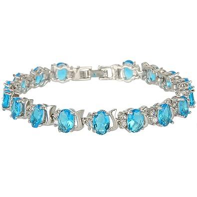 EVER FAITH® Silver-Tone Prong Cubic Zirconia Teardrop Tennis Party Bangle Bracelet vIkyEtyV