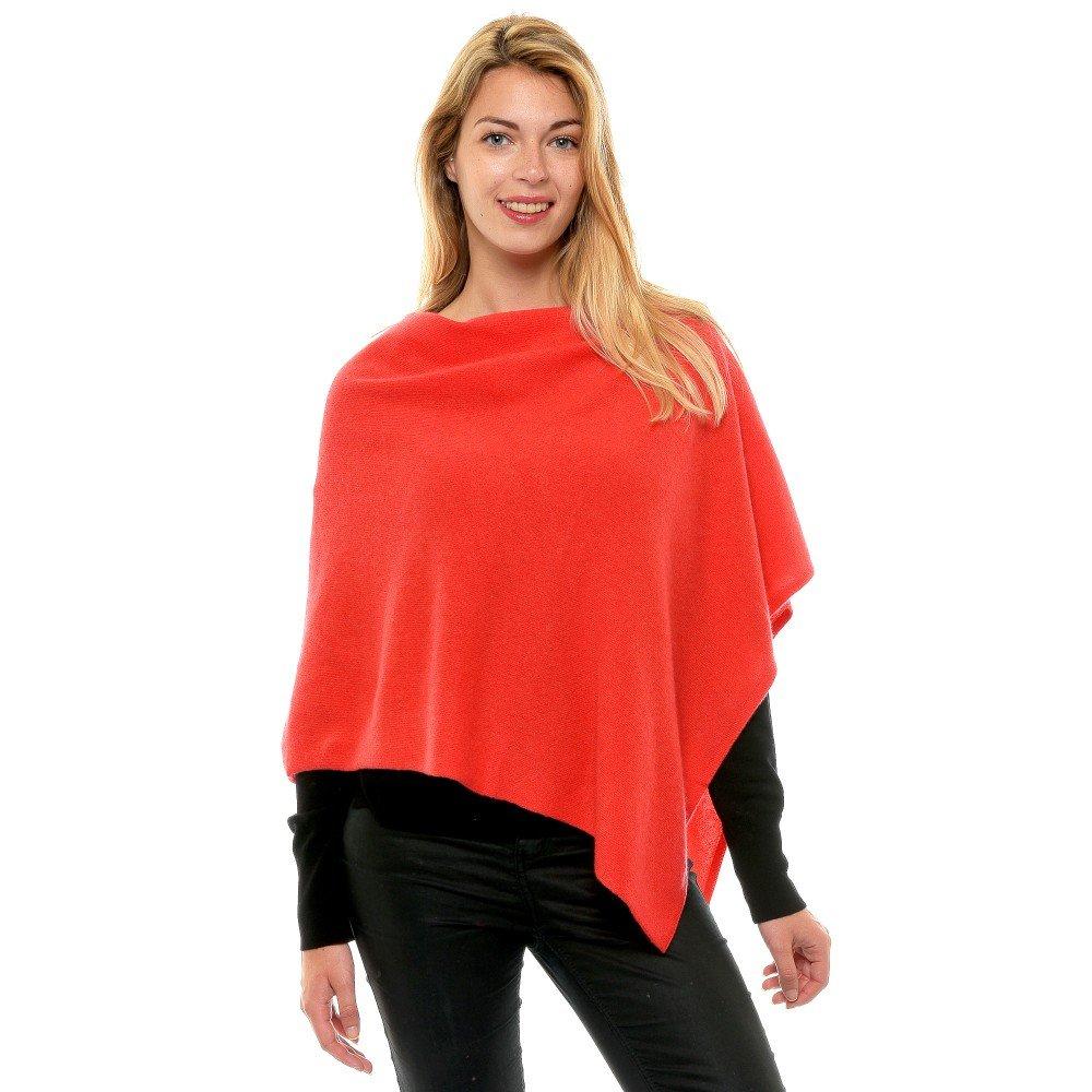 Womens 100% Cashmere Poncho 2 Plys Colors - Red Geranium