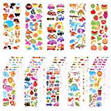 KUUQA 3D Stickers for Kids,40 Different Sheets Craft Stickers 1000+ Puffy Stickers Scrapbooking Bullet Journals
