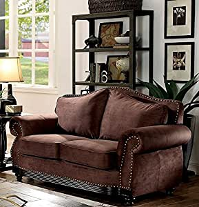 Furniture of America Hetty Brown Loveseat