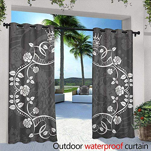 LOVEEO Queen Outdoor Window Curtains Delicate Victorian Antique Circular Flora with Crown Vintage Grunge Rusted Royal Darkening Thermal Insulated Blackout 84