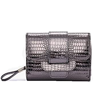 8f382ee289 Genuine Leather Women Wallet Crocodile Grain Pattern Short Coin Purse Card  Phone Holder Wholesale (Silvery