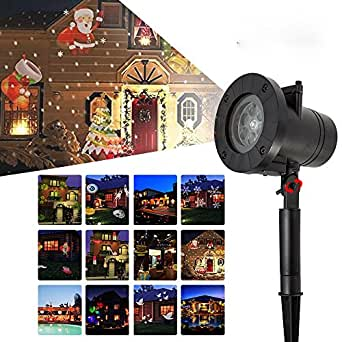 Scorpiuse LED Christmas Light Projector 12PCS Pattern Waterproof Landscape Garden Spotlight for Holiday Party Decoration