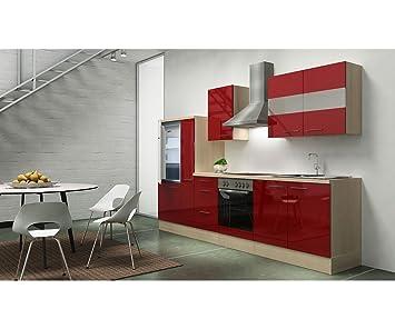 Respekta Appliances 300 CM Acacia Replica Chilli Red Gloss APL Acacia Wood  Imitation