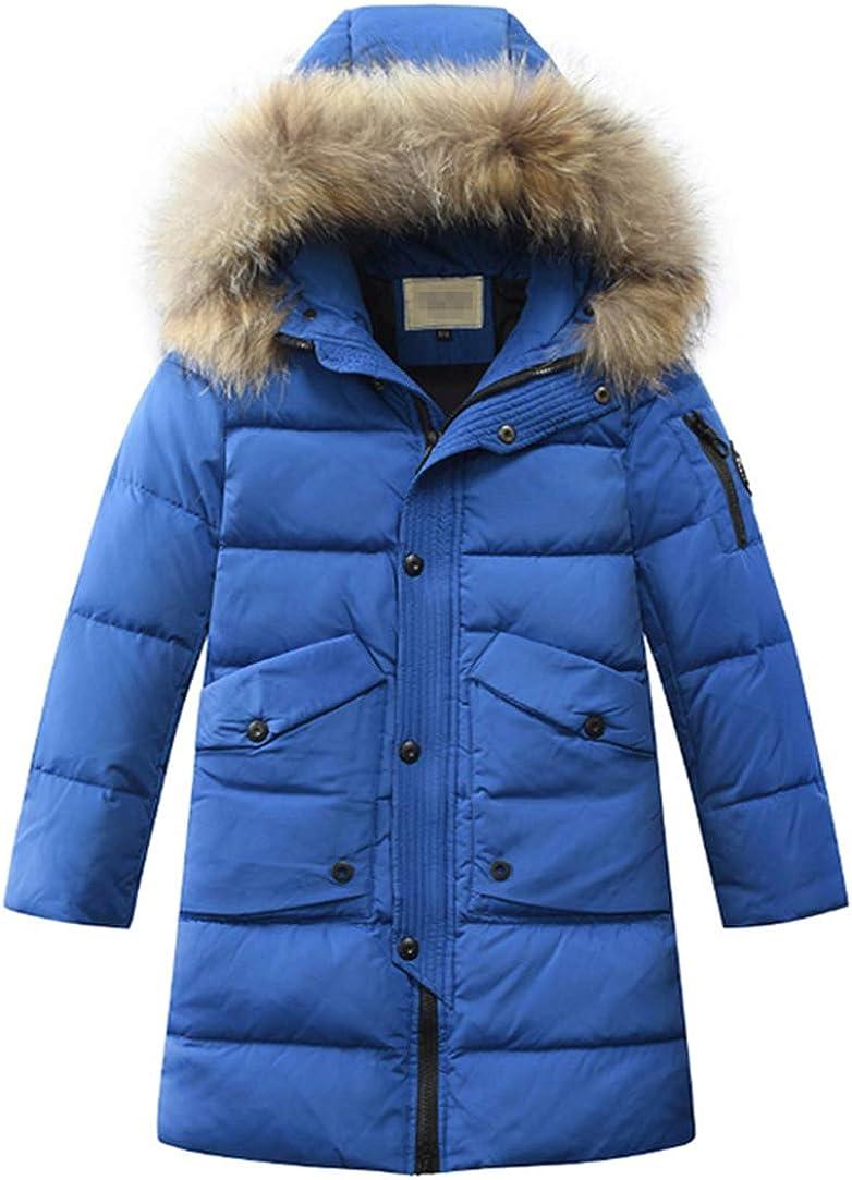 LISUEYNE Big Boys/' Hooded Down Coat Mid-Long Winter Puffer Jacket for Kids