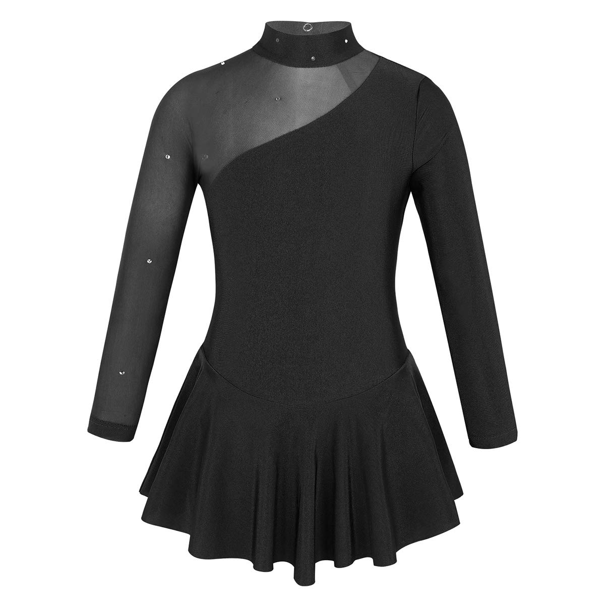 YONGHS Kids Girls Ice Roller Skating Ballet Dance Leotard Dress Long Sleeves Mesh Splice Cutout Back Unitard Dancewear Black 10 by YONGHS