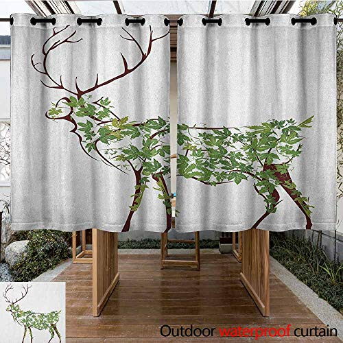 AndyTours Outdoor Window Curtains,Antlers,Designer Deer Illustration Elk Leave Greenery Garden Traditional Celebration,for Patio/Front Porch,K183C115 Green Brown White