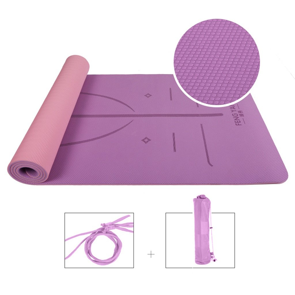 Yoga-Trainingsmatte, Erweiterung Workout-Matten für Pilates Und Fitness, High-Density-Anti-Riss-Non-Slip-Komfort-TPE mit Tragegurt Ausrichtung Marker-System (L183xW66CM)