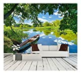 wall26 - Spring Summer Landscape Blue Sky Clouds Narew River Boat - Removable Wall Mural | Self-Adhesive Large Wallpaper - 66x96 inches