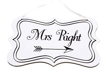 Unbekannt Mrs Right Schild Weiss Hochzeit Braut Deko Vintage