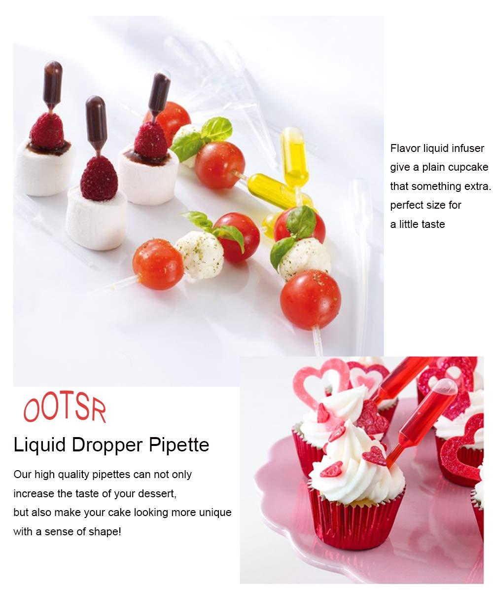 OOTSR 100 unids gotero líquido desechable 4 ML, Pipetas de Transferencia plásticas, adecuadas para Fresa, Chocolate, Pastel, Batidos, jarabes, ...