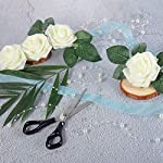 Meiliy-60pcs-Artificial-Flowers-Ivory-Roses-Real-Looking-Foam-Roses-Bulk-wStem-for-DIY-Wedding-Bouquets-Corsages-Centerpieces-Arrangements-Baby-Shower-Cake-Flower-Decorations