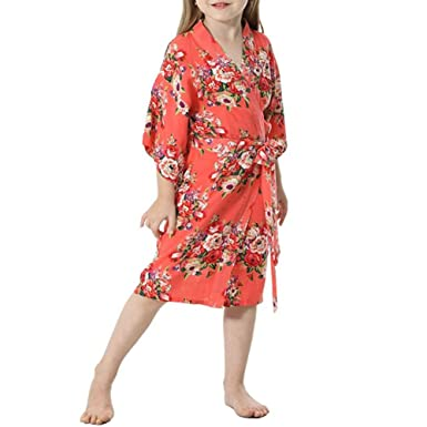 YOLIA Kids Girls Robes Floral Printed Comfy Cotton Kimono Nighties Dressing  Gowns Coral b086067a2