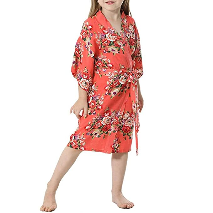 YOLIA Kids Girls Robes Floral Printed Comfy Cotton Kimono Nighties Dressing  Gowns Coral 23f2ca5a7