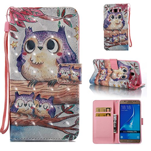 Galaxy J3 Case, Galaxy Amp Prime Case, Galaxy Express Prime Case, ARSUE PU Leather Wallet Flip Protective Case Cover with Kickstand and Card Slot for Samsung Galaxy J3 (2016) / Galaxy J3 V(Cute Owl)