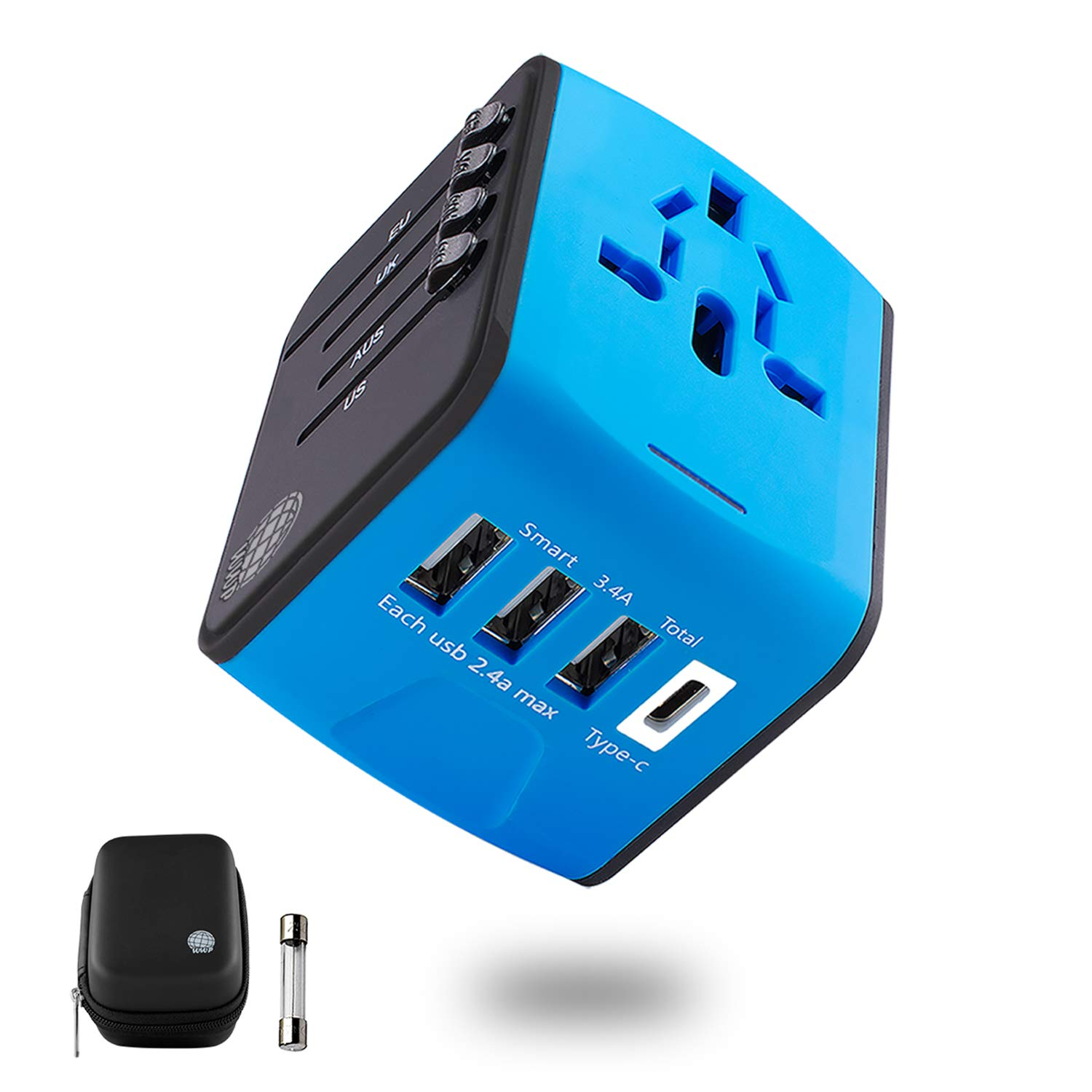 International Travel Adapter | Universal Power Adapter | European Adapter | Worldwide Outlet Adapter Plug Converter | USB Type C Wall Travel Charger for Cell Phone Tablets and Laptops in EU UK USA AUS