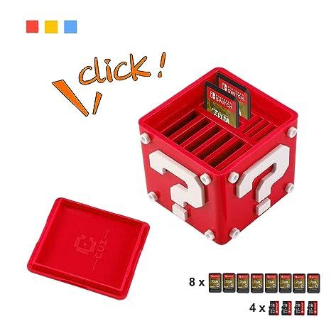 Estuche para Juegos de Nintendo Switch, AOLVO 12-en-1 Lindo Funda para Cartuchos de Juegos llevar 8 Cartuchos de Juego y 4 Tarjetas SD (Rojo)