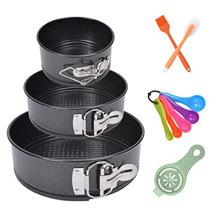 7ac1b3fdb61c4 Besego 4 Inch 7 Inch 9 Inch Springform Pan Set, 3 pcs Non-stick Round Cake  Pan with Removable Bottom, Leakproof Cheesecake Pan, Baking Pans for ...