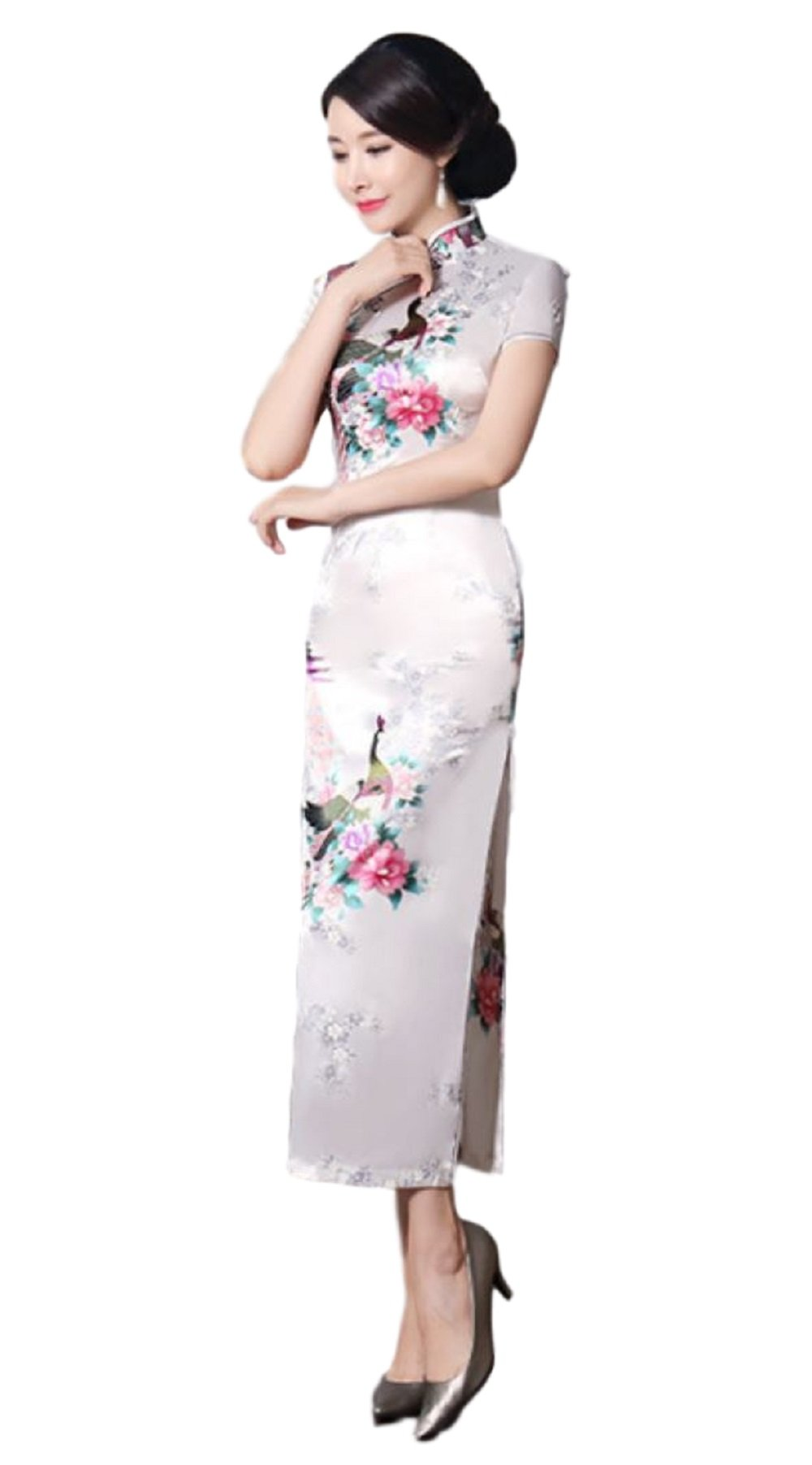 Hide Away Women's Longi Chinese Dress Cheongsam [White/Purple/Black/Red] Mandarin Gown Qipao China Dress (Large, White)