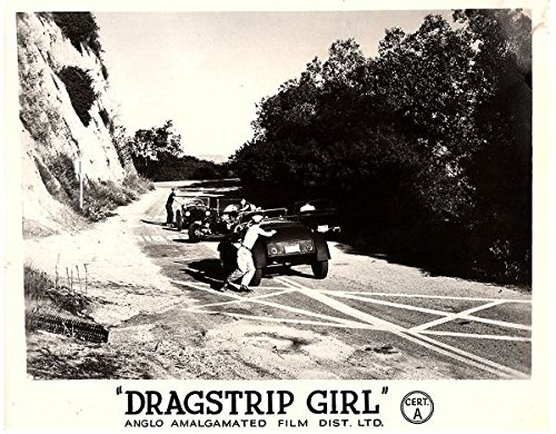 Dragstrip Girl 1957 Original Lobby Card Drag Cars On California Highway - Dragstrip Girl