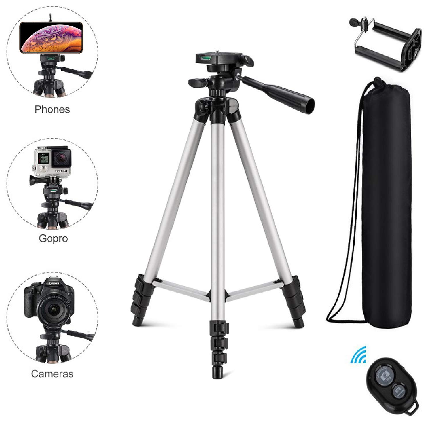 Eocean Tripod, 50-inch Video Tripod for Cellphone and Camera, Universal Tripod with Wireless Remote & Cellphone Holder Mount, Compatible with iPhone Xs/Xr/Xs Max/X/8/Galaxy Note 9/S9/Huawei/Google by Eocean