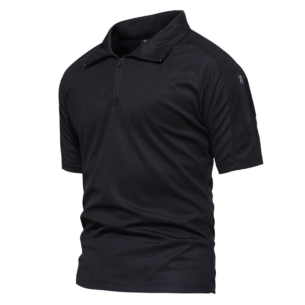TACVASEN Men's Performance Battle Top Tactical Polo Combat Short Sleeve T Shirt Black,Black,US 2XL(fit Chest:47'')