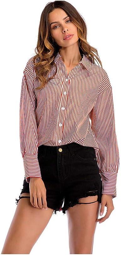Camisa de Mujer Rayas Solapa Camisa de Manga Larga Boyfriend Tallas Grandes Blusa Cuello En V Camiseta con Botones Sueltos Oficina Trabajo para Otoño Invierno RISTHY: Amazon.es: Ropa y accesorios