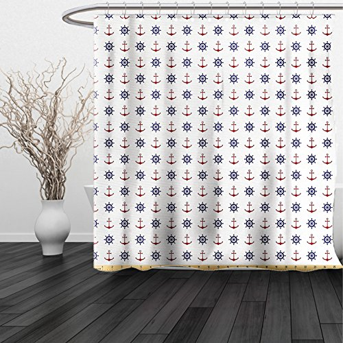 HAIXIA Shower Curtain Anchor Fabric by the Yard Maritime Design Anchors and Ship Wheels on the White Background Print Fabric for Upholstery and Home Accents Navy Blue and - Leaf Ruby Striped