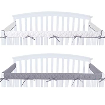 Amazon Com Quilted Crib Rail Cover Protector Safe Teething Guard Wrap For Standard Crib Rails 3 Piece Fit Side And Front Rails Grey White Reversible Safe And Secure Crib Rail Cover Baby