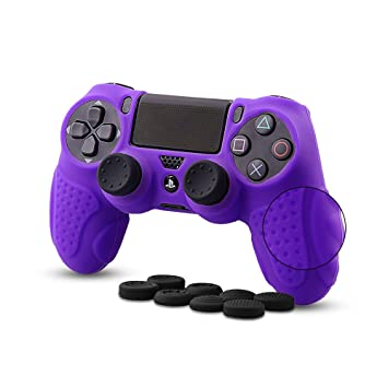 CHIN FAI PS4 Funda para Cubrir el Mando de PS4 con 4 Grips para Pulgares, Funda Antideslizante de Silicona, Carcasa Protectora para Mando de Sony PS4 ...