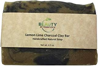 product image for Handmade Lemon Lime Soap Bar – Made with Clay and Activated Charcoal - 100% Natural and Organic Ingredients – for Men, Women - All Skin Types 4 OZ