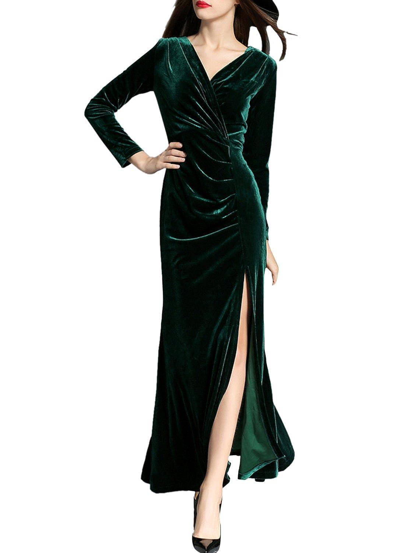 ASVOGUE Mujer Vestidos de Fiesta Elegante Terciopelo Apertura Alta, Borgoña L: Amazon.es: Ropa y accesorios