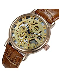Feccoe Luxury Mens Carving Skeleton Auto Mechanical Leather Band Transparent Vintage Style Wrist Watch