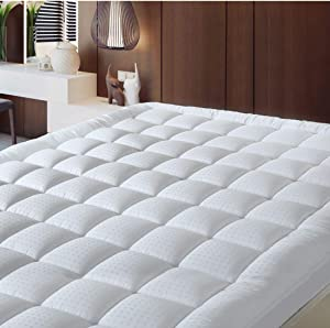 BALICHUN Pillowtop Twin Mattress Pad Cover 300TC 100% Cotton Down Alternative Filled Mattress Topper with 8-21-Inch Deep Pocket (White, Twin)