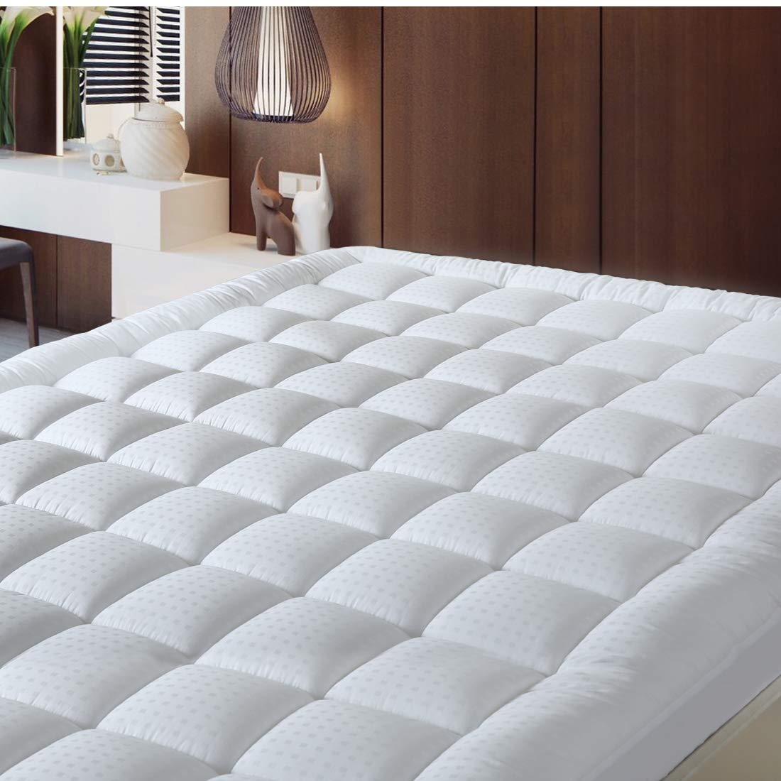Balichun Pillowtop Mattress Pad Cover 300TC 100% Cotton Down Alternative Filled Mattress Topper