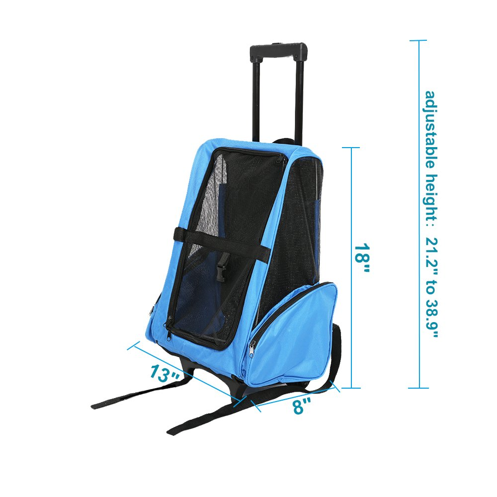 Karmas Product Oxford Rolling Pet Travel Carrier Backpack Small Dog Cat Travel Luggage with Wheels Airline Approved