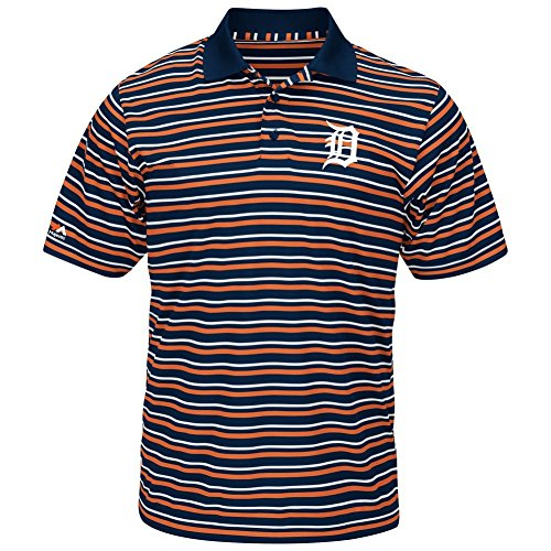 Tiger Striped Polo Shirt - Majestic Athletic Men's Synthetic Detroit Tigers Polo Shirt (Large)