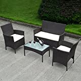 4 PC Patio Rattan Wicker Chair Sofa Table Set Patio Garden Furniture Cushioned