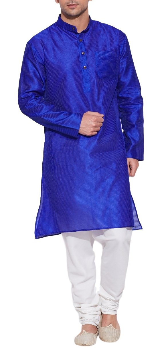 Emerald Blue Faux Silk Kurta for Men - Men's Indian Fashions - Polyester Dupion