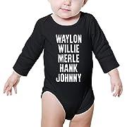 Waylon Jennings Willie Nelson Merle Haggard Hank Williams jr Johnny Cash Infant Toddler Boys Girls Baby Soft Onesies Bodysuit