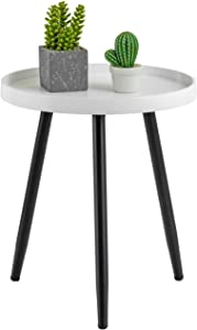"HuiDao Round Side Table Wooden Tray Table with Metal Tripod Stand Nightstand Coffee Table End Table for Living Room Bedroom Office Small Spaces, 18"" H x 15"" D (White & Black)"