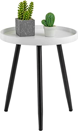 HuiDao Round Side Table Wooden Tray Table with Metal Tripod Stand Nightstand Coffee Table End Table for Living Room Bedroom Office Small Spaces, 18 H x 15 D White Black