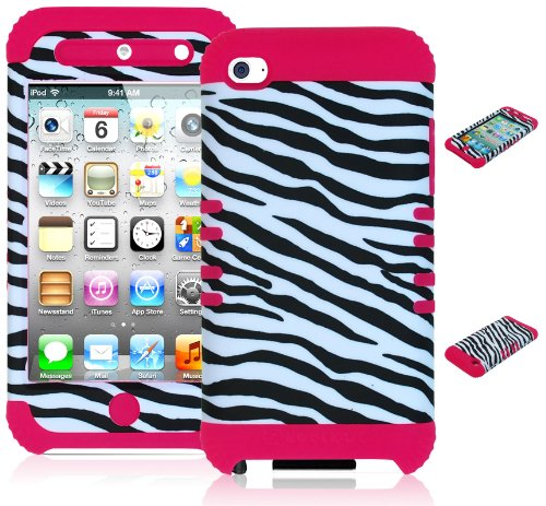 Bastex Heavy Duty Hybrid Case for Touch 4, 4th Generation iPod Touch - Pink Silicone / Black & White Zebra Animal Print Hard Shell (Cases Animal 4 Touch Ipod)
